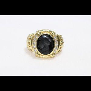 18k Yellow Gold Judith Ripka Diamond Onyx Ring